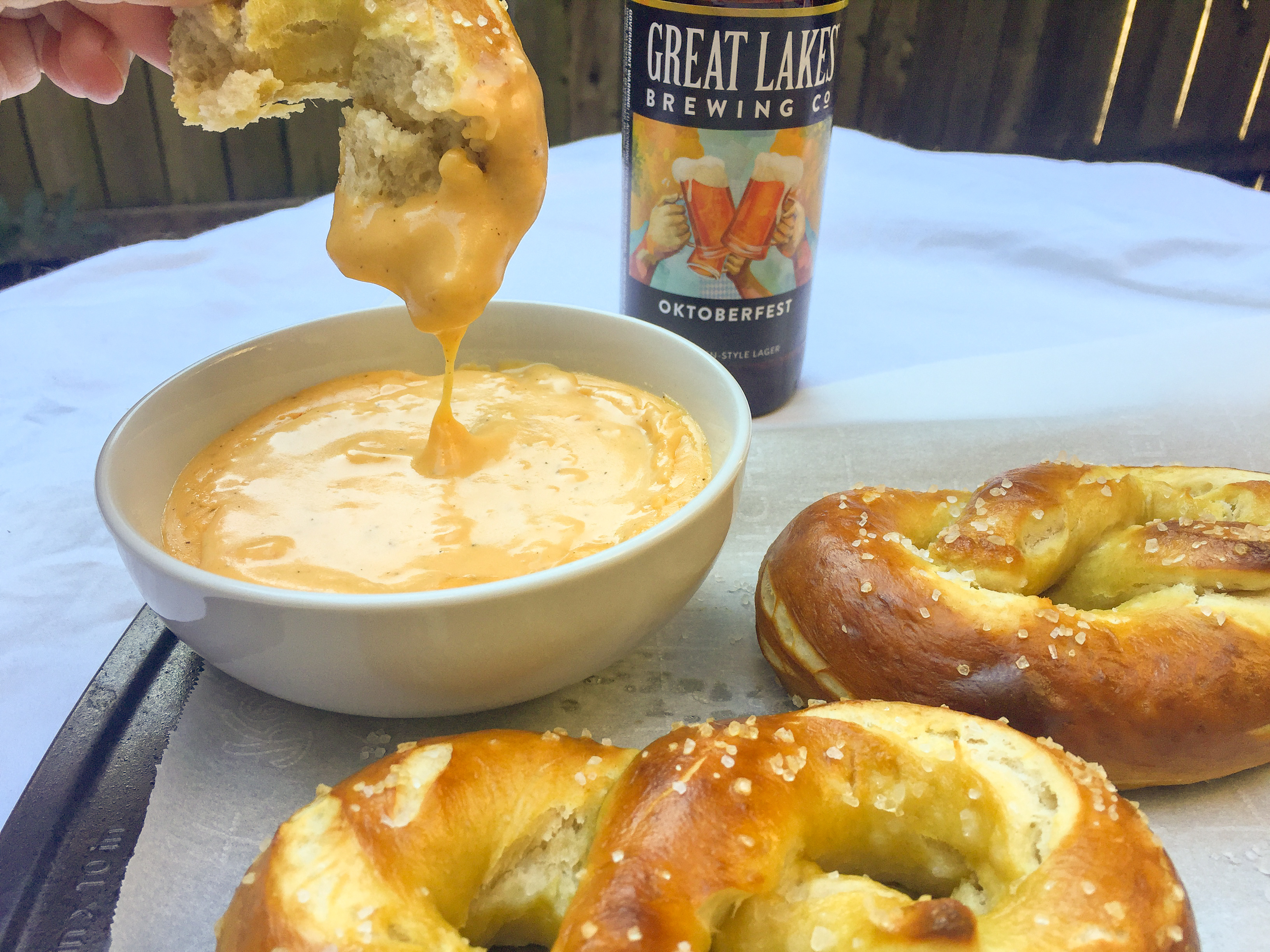 Giant Soft Pretzels with Beer Cheese